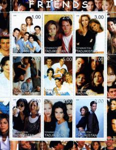Tajikistan 2000 FRIENDS AMERICAN TV Sheet (9) Perforated Mint (NH)