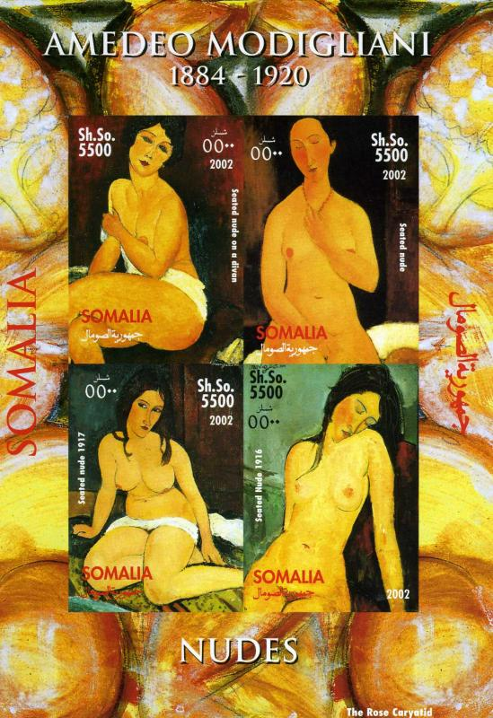 Somalia 2002 Modigliani Nudes paintings Sheet (4) Imperforated mnh.vf