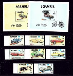 Gambia 620-29 MNH 1986 Autos with souvenir sheets