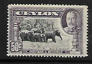 CEYLON  273 MINT HINGED,  KING GEORGE VI, WILD ELEPHANTS