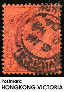 Malaya Straits Settlements KE VII 4c CrownCA SG#125 used in VICTORIA HONG KONG