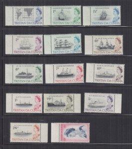 TRISTAN DA CUNHA, 1965 original set of 14, marginal mnh.