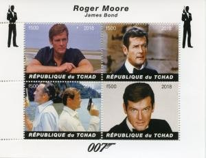 Chad 2018 JAMES BOND ROGER MOORE Sheet Perforated Mint (NH)