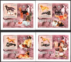 {044} Sao Tome & Principe 2006 Dogs & Cats 4 S/S Deluxe MNH**