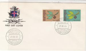 Europa Iceland 1965 Reykjavik Cancels Crest Pic Branch FDC Stamps Cover Ref25987