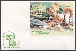 Cuba, Scott cat. 4556. Snails & Mushrooms s/sheet. First day cover. ^