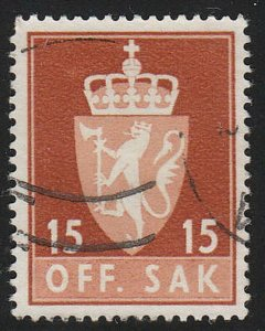 Stamp Norway Official Sc O067 1955 Dienst Coat Arms Used