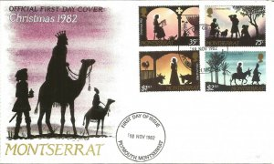 Montserrat Christmas 1982 First Day Cover Nativity Stamps Plymouth Pmark U3593