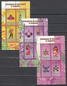 Djibouti, 2009 Cinderella item. Disney & Orchids, 3 sheets of 4.