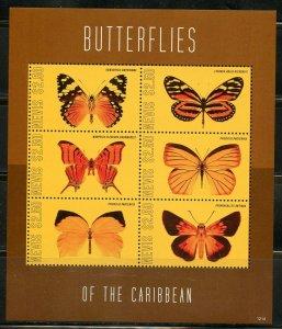 NEVIS BUTTERFLIES OF THE CARIBBEAN SHEET MINT NH