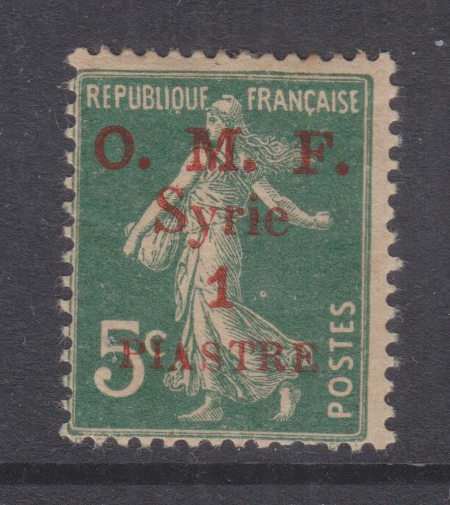 SYRIA, 1920 OMF Syrie, 1pi. in Red on 5c. Blue Green, lhm.