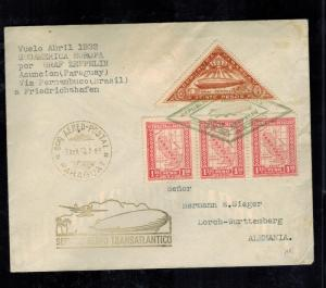 1932 Paraguay Graf Zeppelin Cover to Lorch Germany LZ 127 Herman Sieger