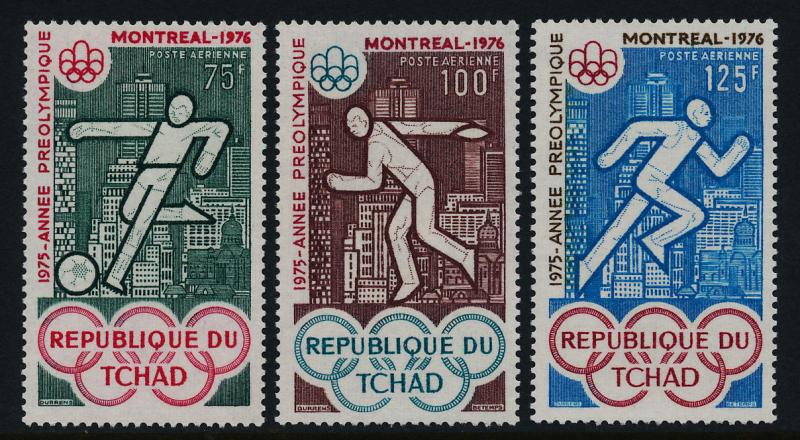 Chad C168-70 MNH Olympic Sports, Soccer, Athletics