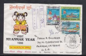 Registered First Day Cover Myanmar to USA 1996
