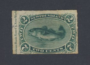 Newfoundland Used Rouletted stamp w Imprint #38-2c VF Guide Value = $70-$100.00+