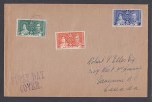 Ascension Sc 37-39 FDC. 1937 Coronation, cplt set on Selfridge & Co cover