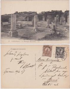 Tunisia to Czechoslovakia 1927 Postcard Showing View of Ruins - Est. $15.