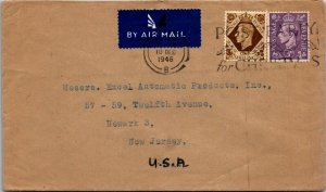 UK > Excel Automatic Products Newark NJ GVI 1s and 3d stamps 1946 Xmas cancel