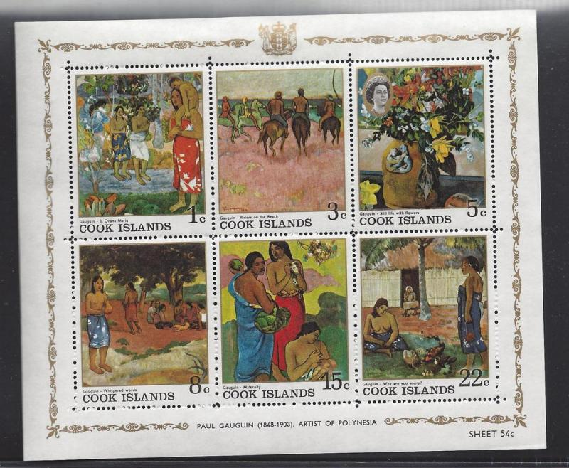 Cook Islands, 226a, Paintings - Gauguin S/S(6), **MNH**