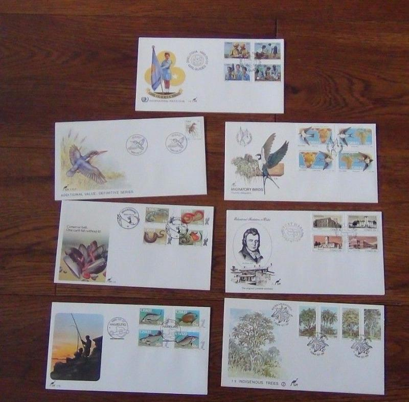 Ciskei 7 FDCs 1983 1985 sets Trees Birds Fish Angling Youth Education etc