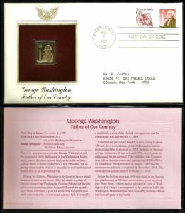 United States 1985 PCS FDC w/ 22 kt gold replica Scott# 2149