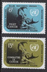 United Nations  New York  #207-208 1970   MNH  fight cancer
