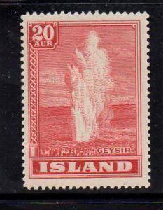Iceland Sc 204 1938 20 aur rose red Geyser stamp mint