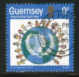 Guernsey  Scott  316 used 1985 youth year stamp