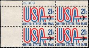 US #C81 21¢ USA & JET MNH UL PLATE BLOCK #33009 DURLAND $2.00