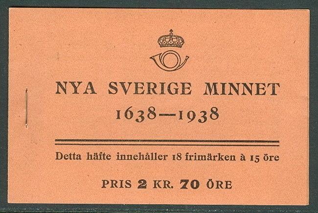 SWEDEN (H35) Scott 274b, 15ore New Sweden booklet, VF,