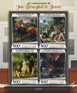 TOGO - 2021 - Jan Breughel the Younger - Perf 4v Sheet - Mint Never Hinged