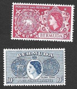 Doyle's_Stamps: MvLH 1953 Bermuda Queen Elizabeth II Commems, Sct  #160* & #161*