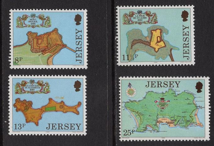 Jersey  #222-225  1980  MNH fortresses