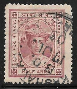 India Indore 9: 1/2a Maharaja Tukoji Holkar III, used, F-VF