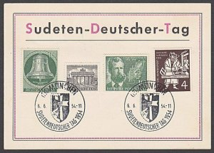 GERMANY 1954 Sudeten Deutscher Tag card used - nice franking................B343