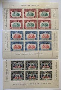Ethiopia 1947 blocks of 6 Halie Selassie + FDR, MNH.  Scott 278-280, CV $69.00+