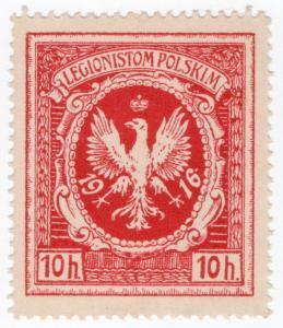 (I.B) Poland Cinderella : Polish Legion Patriotic Stamp 10h