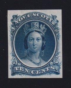 Nova Scotia Sc #12TCxii (1860-3) 10c blue Victoria Trial Colour Plate Proof VF