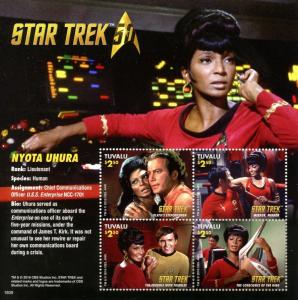 Tuvalu 2016 MNH Star Trek Original Series 50th Anniv Nyota Uhura 4v M/S Stamps
