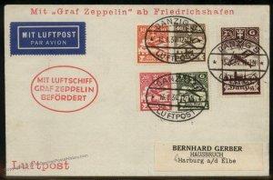 Danzig 1930 Graf Zeppelin Si82 Kasselfahrt Cover Cassel Flight Flown 93297