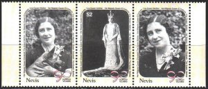 Nevis. 1990. 548-50. 90 years old queen mother, dog. MNH.
