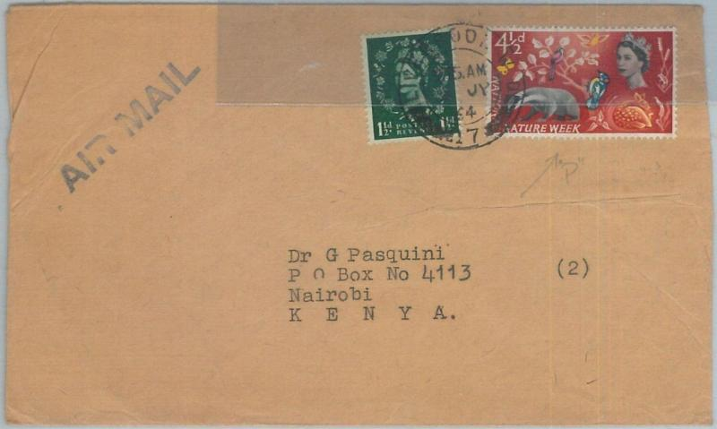 72461 GREAT BRITAIN - POSTAL HISTORY - PHOSPHOROUS stamp on cover to KENYA 1964