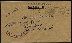 BARBADOS 1993 Official cover - airmail to New Zealand......................23986