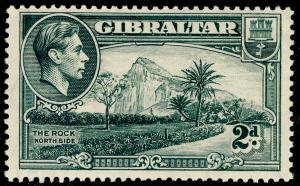 GIBRALTAR SG124a, 2d grey PERF 13½, UNMOUNTED MINT.