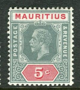 MAURITIUS; 1921-34 early GV issue fine Mint hinged Shade of 5c. value