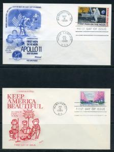 UNITED STATES 1969 BEAUTIFY& MOONLANDING  FLEETWOOD  LOT OF 5  FIRST DAY COVERS
