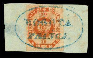 COLOMBIA 1859 Coat of Arms 10c red brwn Scott # 4 used XF on piece BOGOTA FRANCA