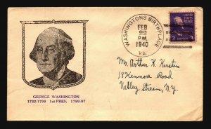 US 1940 Washington's Birthplace VA CDS / Cacheted / Cnr Crease - L4790