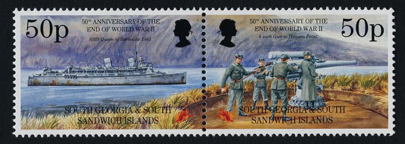South Georgia 199a MNH WWII, HMS Queen of Bermuda, Gun