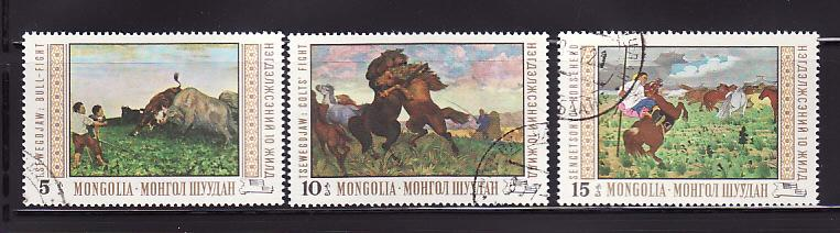 Mongolia 542-544 U Paintings, Art